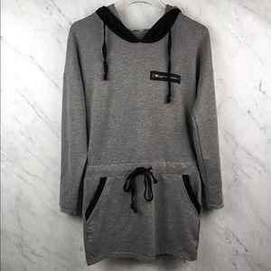 TOBI Gray & Navy Sweatshirt Hooded Tunic